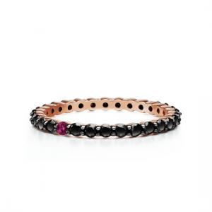 Кольцо дорожка с черными бриллиантами и рубином