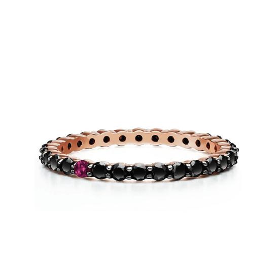 Кольцо дорожка с черными бриллиантами и рубином, Больше Изображение 1