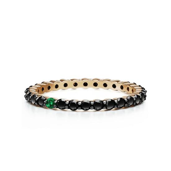 Кольцо дорожка с черными бриллиантами и 1 изумрудом, Больше Изображение 1