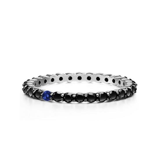 Кольцо дорожка с черными бриллиантами и 1 сапфиром, Больше Изображение 1