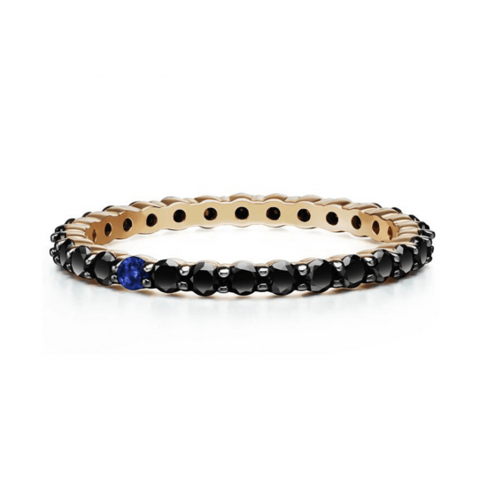 Кольцо дорожка с черными бриллиантами и сапфиром, Больше Изображение 1