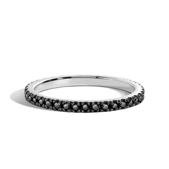 Кольцо простая дорожка с черными бриллиантами, Больше Изображение 1