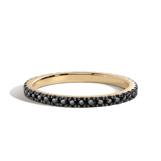 Кольцо дорожка с черными бриллиантами, Больше Изображение 1