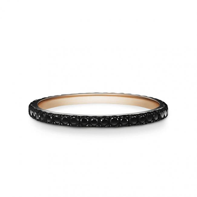 Кольцо дорожка из черных бриллиантов