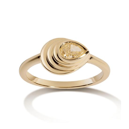 Кольцо с желтым бриллиантом капля, Больше Изображение 1