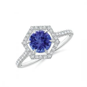 Кольцо с танзанитом в бриллиантовом ореоле