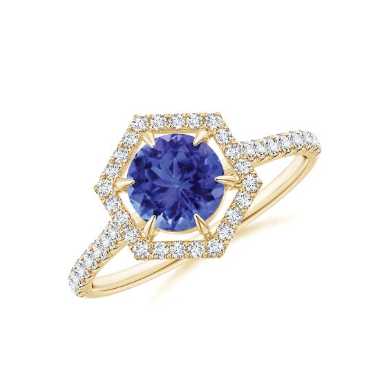 Кольцо золотое с танзанитом и бриллиантами, Больше Изображение 1