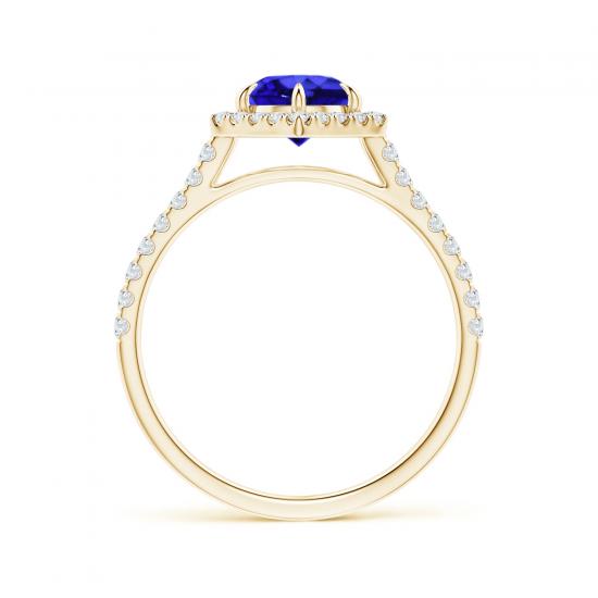 Кольцо золотое с танзанитом и бриллиантами,  Больше Изображение 2