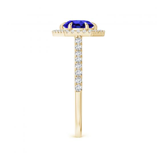 Кольцо золотое с танзанитом и бриллиантами,  Больше Изображение 3