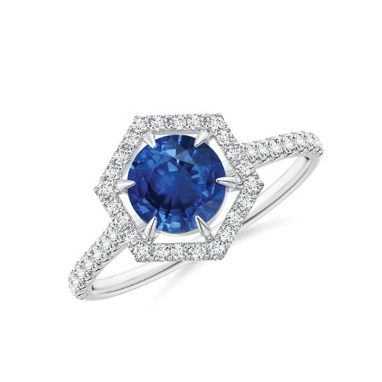 Кольцо с сапфиром в бриллиантовом ореоле, Больше Изображение 1