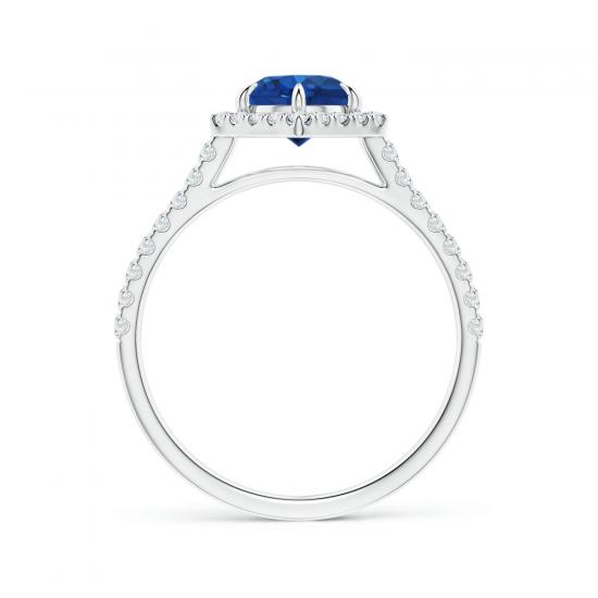 Кольцо с сапфиром в бриллиантовом ореоле,  Больше Изображение 2
