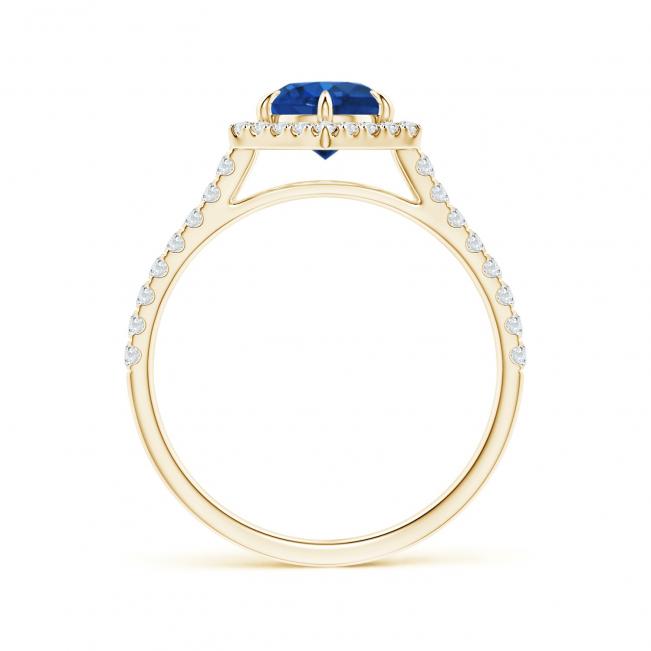 Кольцо с сапфиром в бриллиантовом ореоле