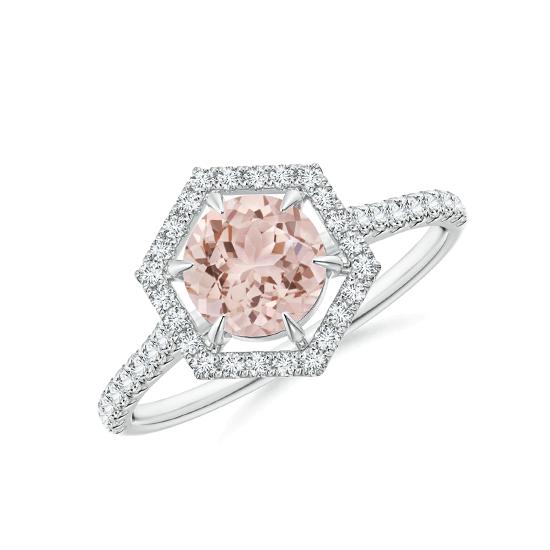 Кольцо с морганитом в бриллиантовом ореоле, Больше Изображение 1