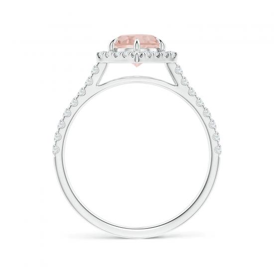 Кольцо с морганитом в бриллиантовом ореоле,  Больше Изображение 2