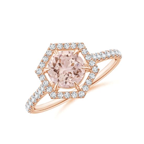 Кольцо с морганитом и бриллиантами, Больше Изображение 1