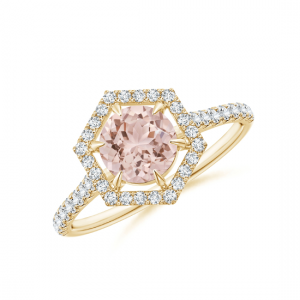 Кольцо золотое с морганитом и бриллиантами