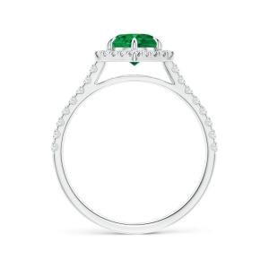 Кольцо с изумрудом в шестиугольном бриллиантовом ореоле