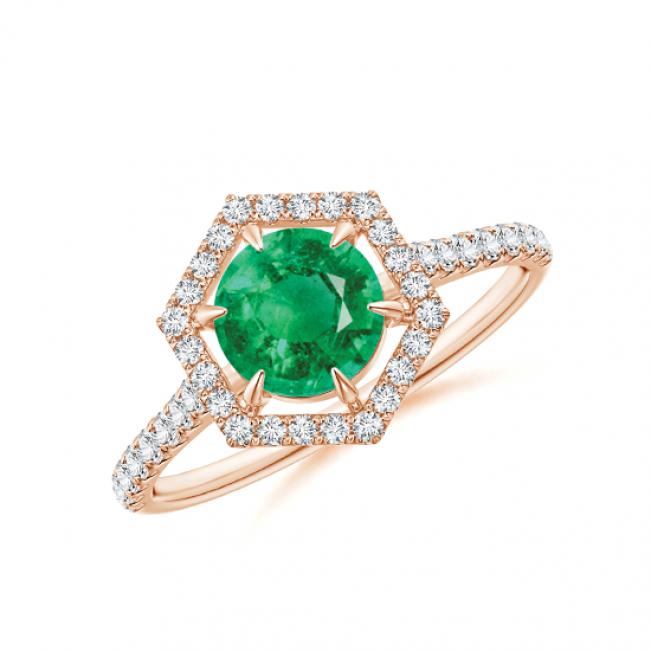 Кольцо с изумрудом в бриллиантовом ореоле