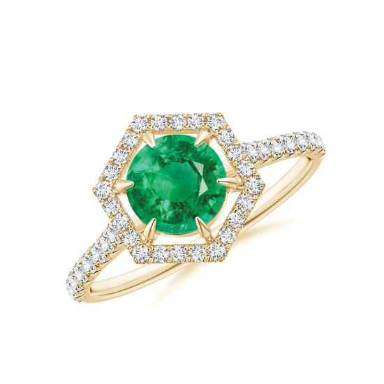 Кольцо с изумрудом в бриллиантовом ореоле, Больше Изображение 1