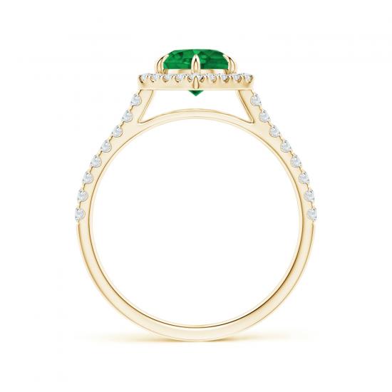 Кольцо с изумрудом в бриллиантовом ореоле,  Больше Изображение 2