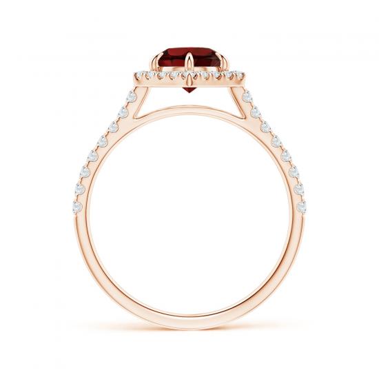 Кольцо с рубином в бриллиантовом ореоле,  Больше Изображение 2