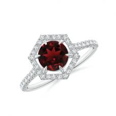 Кольцо с рубином в бриллиантовом шестиугольном ореоле