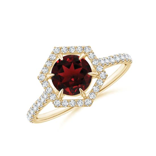 Кольцо с рубином в бриллиантовом ореоле, Больше Изображение 1
