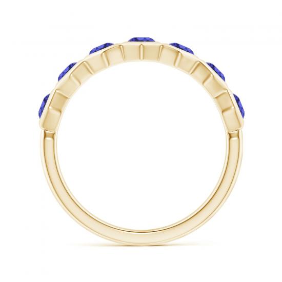 Кольцо золотое дорожка с танзанитами Miel,  Больше Изображение 2