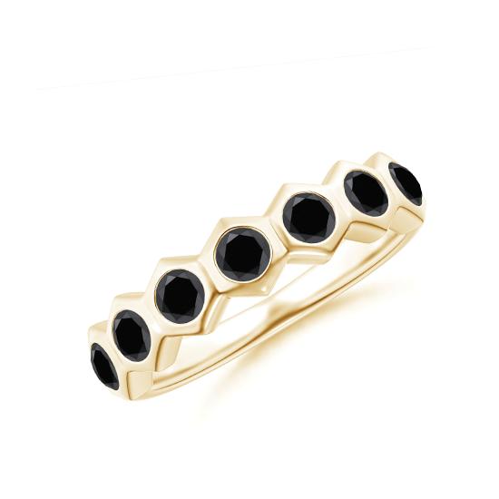 Дорожка с 7 черными бриллиантами Miel из золота, Больше Изображение 1