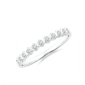 Кольцо тонкая дорожка соты с 11 бриллиантами Miel