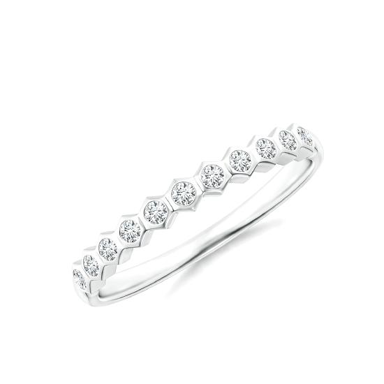 Кольцо тонкая дорожка соты с 11 бриллиантами Miel, Больше Изображение 1