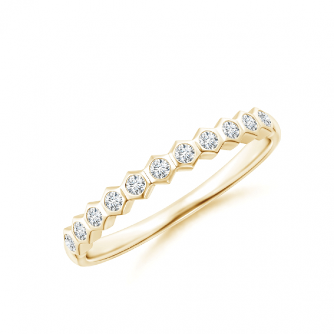 Кольцо тонкая дорожка с белыми бриллиантами Miel из золота