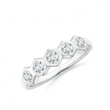 Кольцо дорожка соты с 5 бриллиантами Miel
