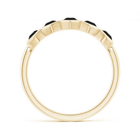 Кольцо из холота дорожка с черными бриллиантами Miel,  Больше Изображение 2