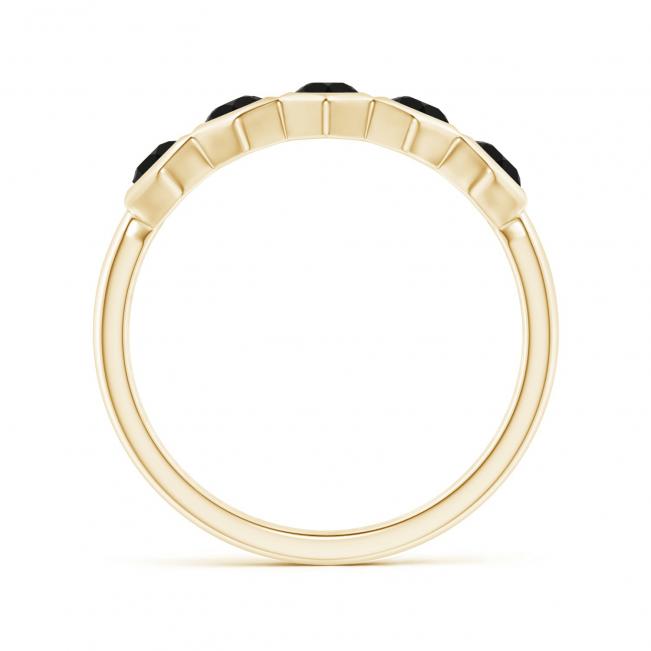 Кольцо из холота дорожка с черными бриллиантами Miel