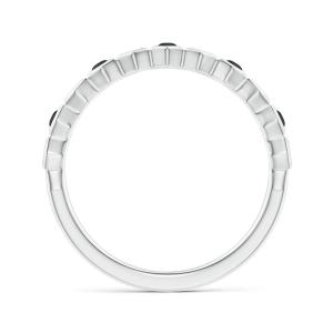Кольцо тонкая дорожка с 5 черными бриллиантами Miel