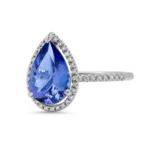 Кольцо с танзанитом Груша и бриллиантами