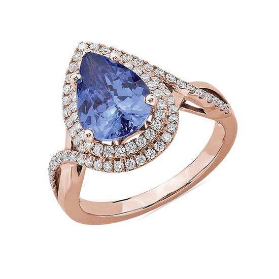 Кольцо с танзанитом капля в бриллиантовом ореоле, Больше Изображение 1