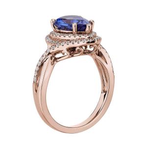 Кольцо с танзанитом капля в бриллиантовом ореоле