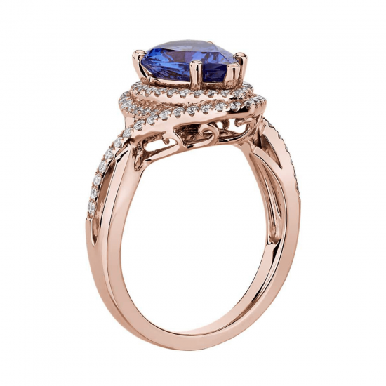 Кольцо с танзанитом капля в бриллиантовом ореоле,  Больше Изображение 2