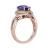 Кольцо с танзанитом капля в бриллиантовом ореоле, Изображение 2