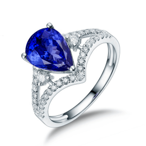 Кольцо с танзанитом Груша с бриллиантами