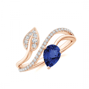 Кольцо с танзанитом капля и бриллиантами