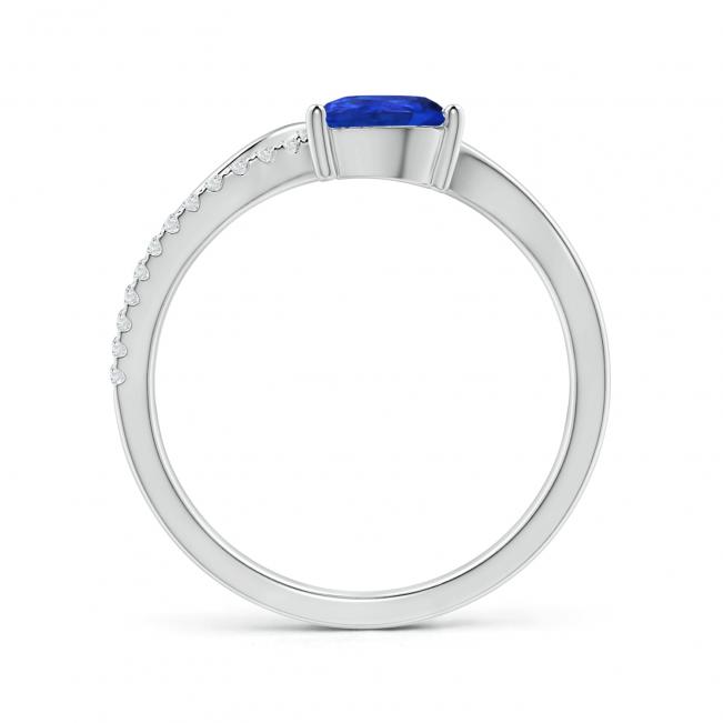 Кольцо изогнутое с танзанитом капля и бриллиантами - Фото 1