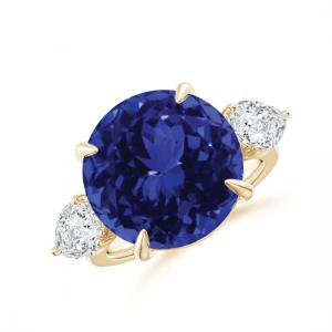 Кольцо золотое с круглым танзанитом и бриллиантами