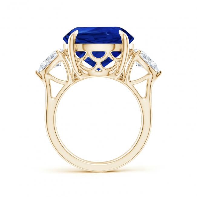Кольцо золотое с круглым танзанитом и бриллиантами - Фото 1
