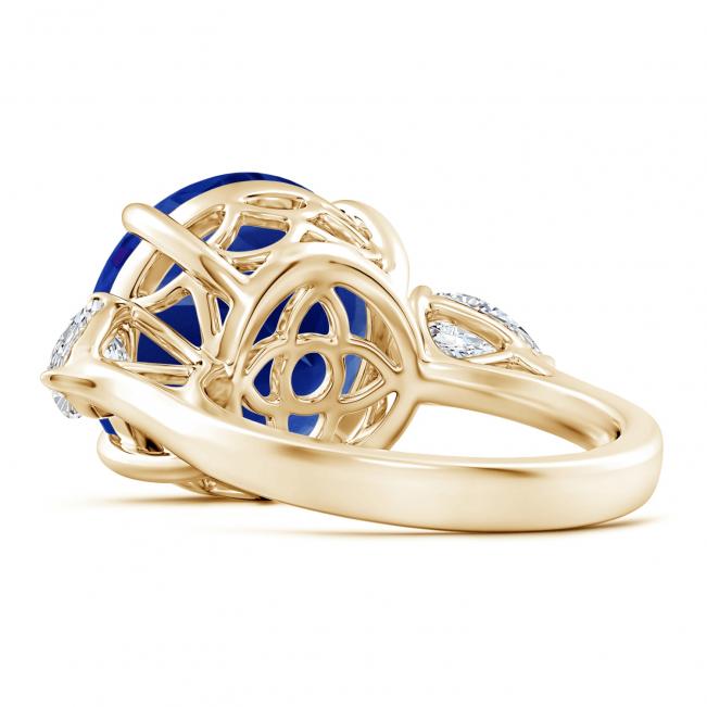 Кольцо золотое с круглым танзанитом и бриллиантами - Фото 2