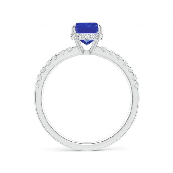 Кольцо с прямоугольным танзанитом и бриллиантами,  Больше Изображение 2