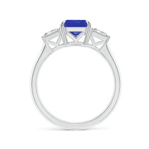 Кольцо с танзанитом эмеральд и бриллиантами багет