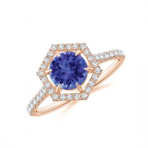 Кольцо с танзанитом 6 мм и бриллиантами